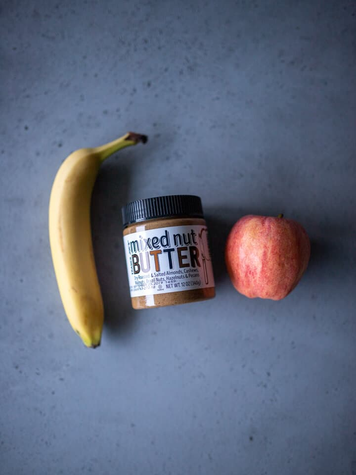 Banana, nut butter, and apple.