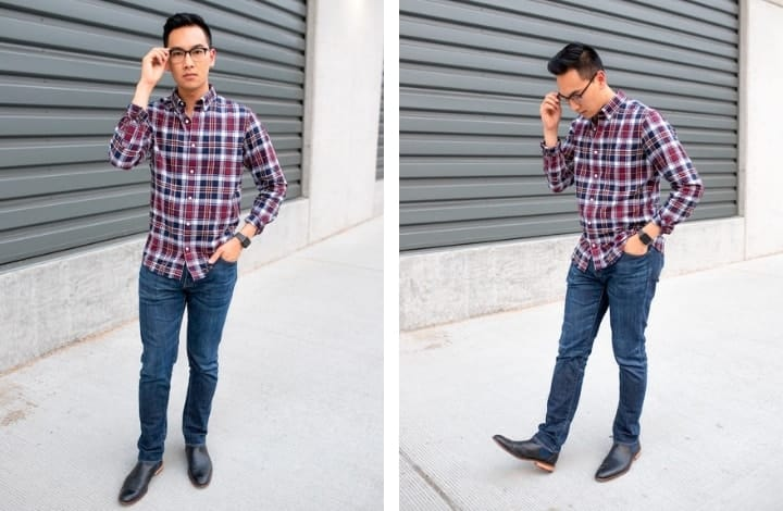 b1649157f With slim fit jeans and a plaid button up, it creates a more casual look.  Not too casual but perfect for a date, meeting with a friend or just being  out and ...