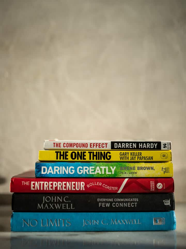 Stack of self-help books.