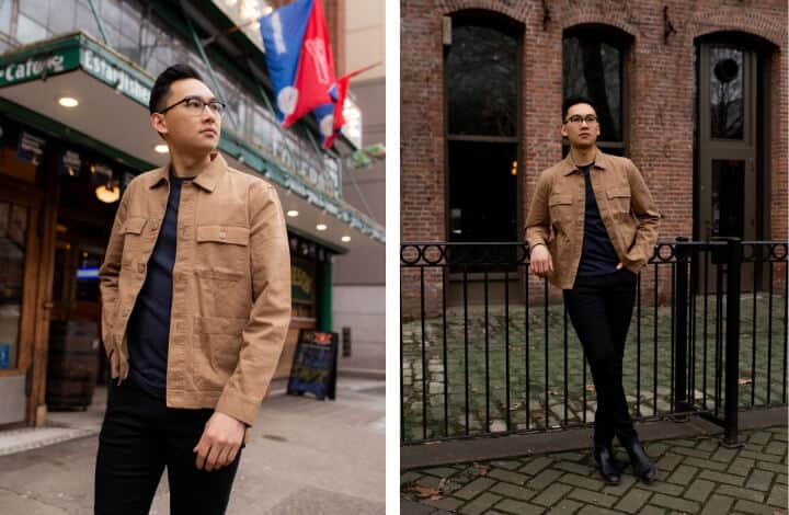 Two images of a man wearing an all black with a khaki jacket.