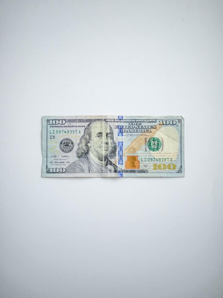 A one-hundred dollar bill.