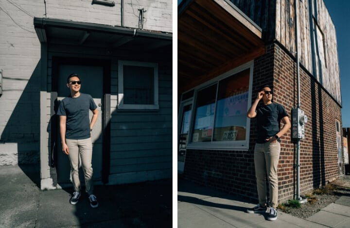 Two images of a man with sunglasses with a building in the background.