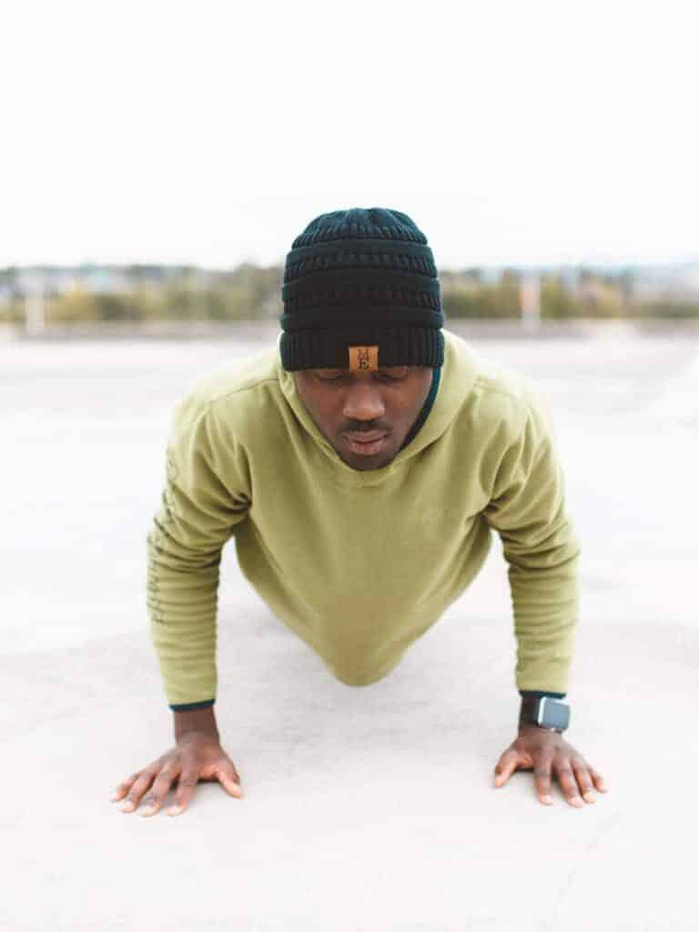 Man doing a push-up.