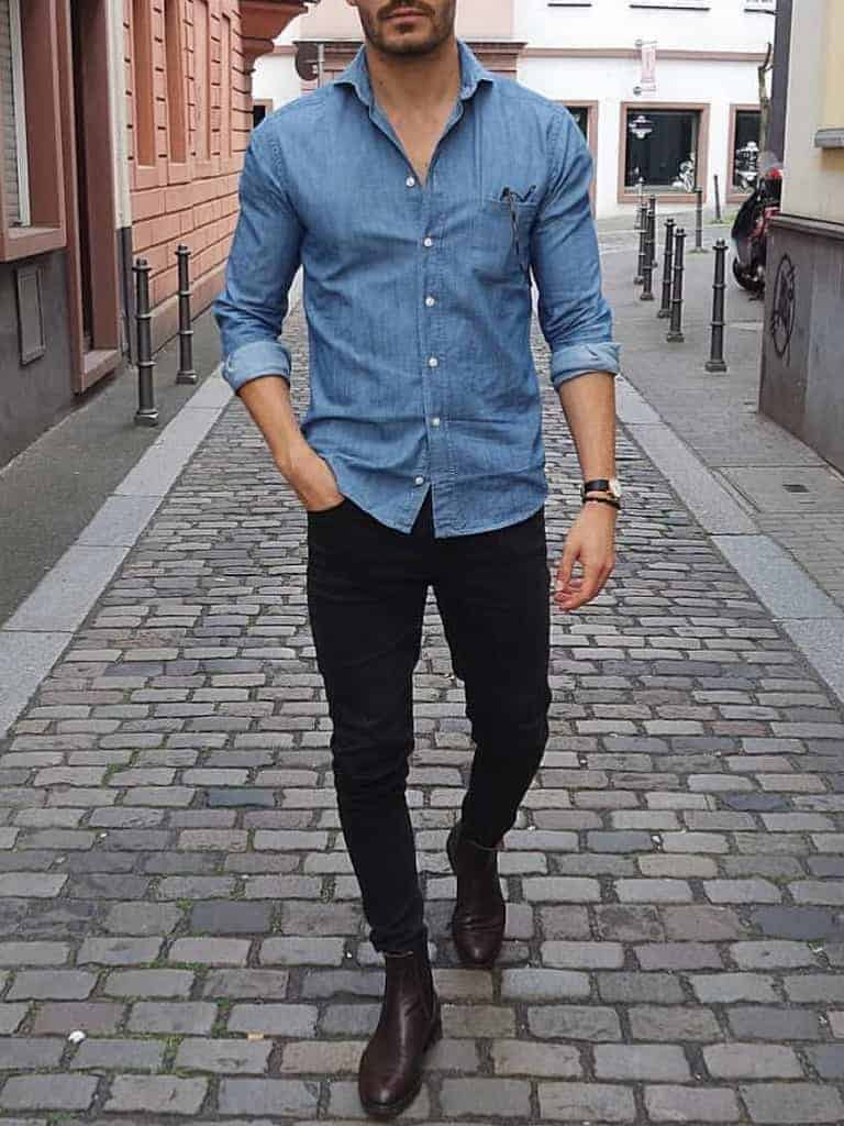 Outfit example of a person wearing black jeans.