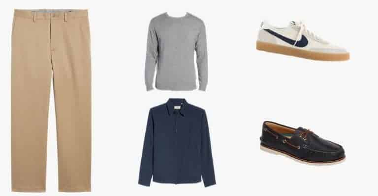 khaki chinos with shirts, jackets and shoes.