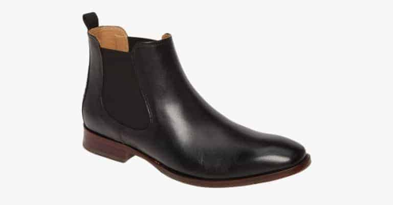 Black leather Chelsea boots.