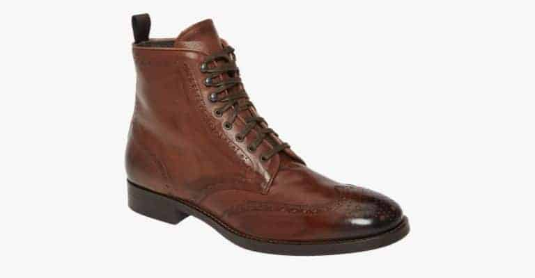 Cognac leather wingtip boots.