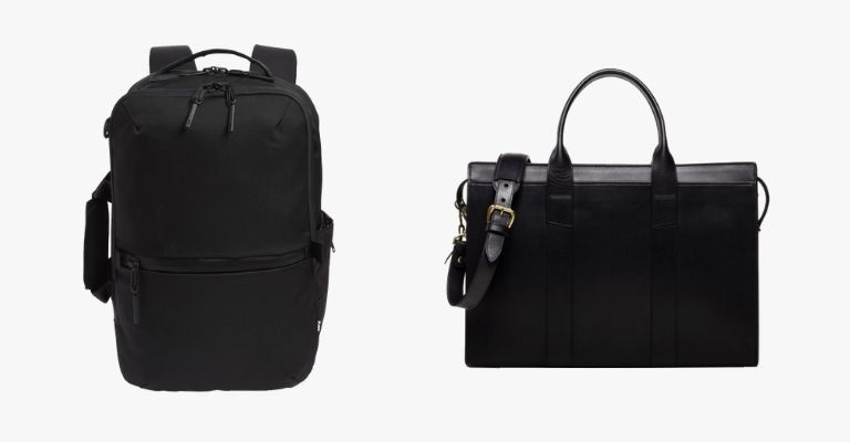 A black backpack and briefcase.