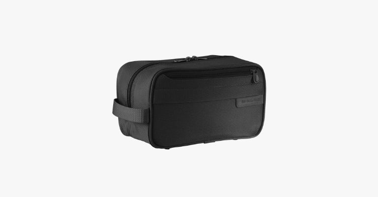 Black toiletry bag.