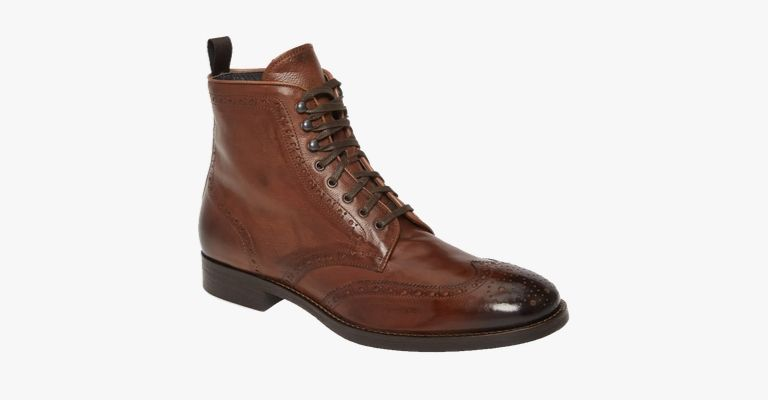 Brown leather lace-up boot.
