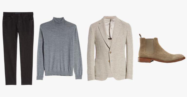 Black jeans, grey turtleneck sweater, beige sportcoat, tan suede Chelsea boots.
