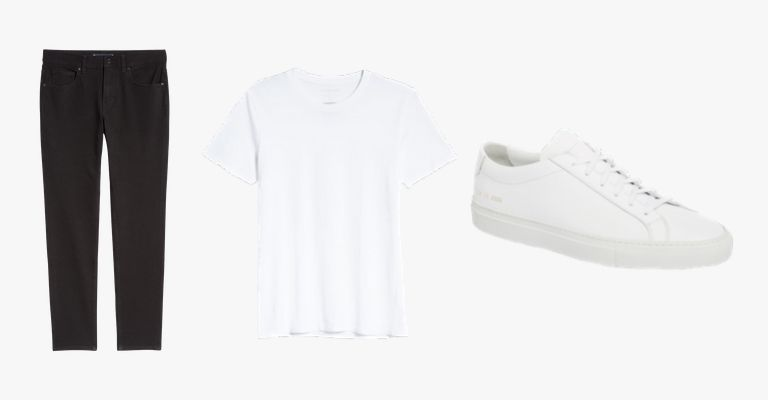 Black jeans, white t-shirt, and white sneakers.