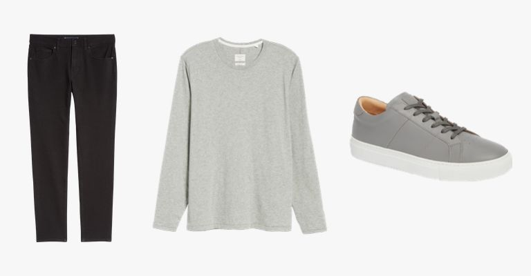 Black jeans, grey long-sleeve shirt, and grey sneakers.