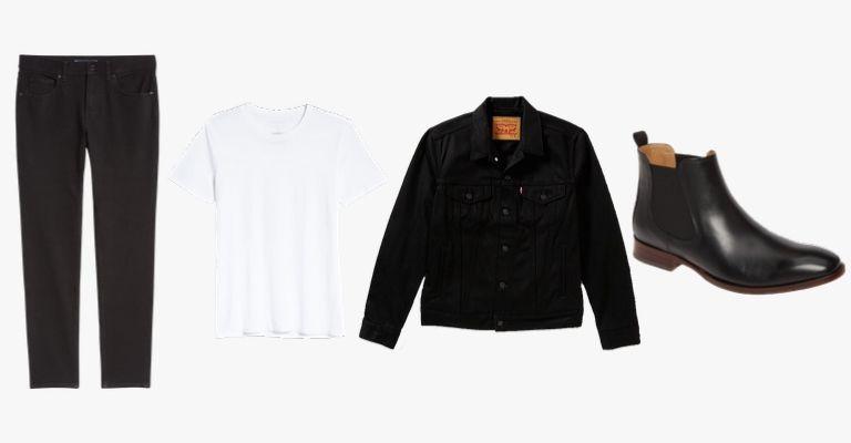 Black jeans, white t-shirt, black denim jacket, and black leather Chelsea boots.