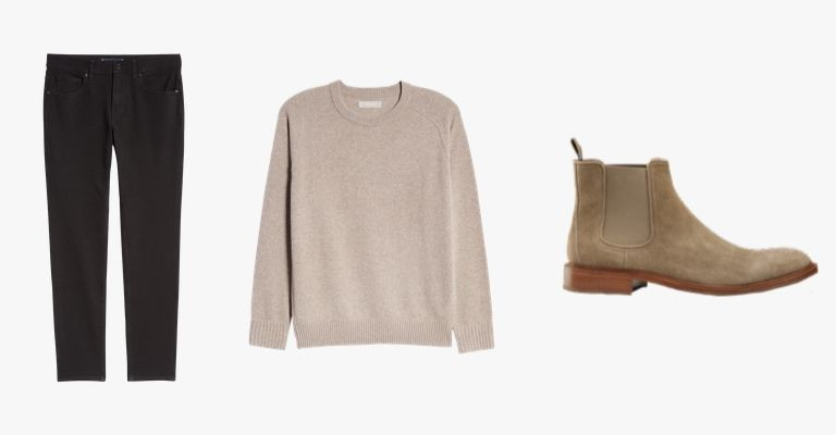 Black jeans, beige sweater, tan suede Chelsea boots.
