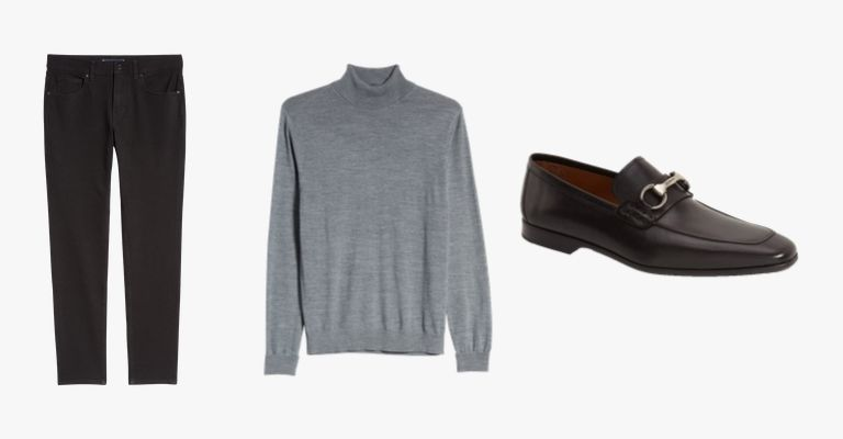 Black jeans, grey turtleneck sweater, and black leather loafers.