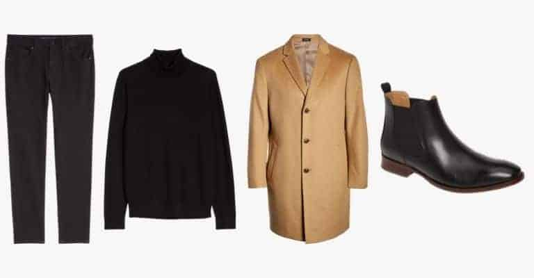 Black jeans, black turtleneck sweater, tan overcoat, and black leather Chelsea boots.