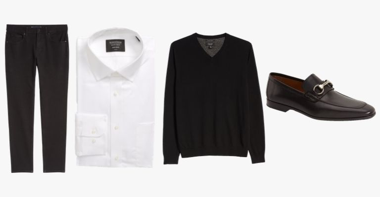 Black jeans, white button-up, black v-neck sweater, and black loafers.