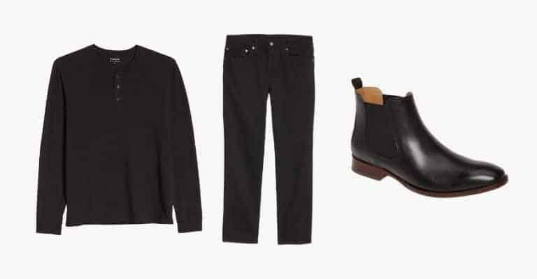 Collection of a black henley t-shirt, black jeans, and black leather Chelsea boots.