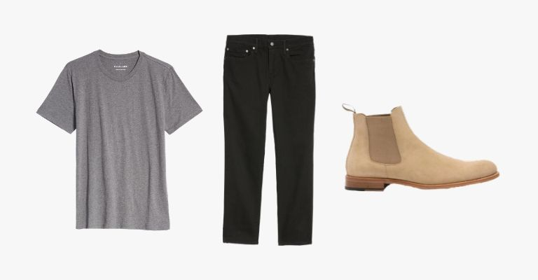 Collection of a grey t-shirt, black jeans, and a tan suede Chelsea boot.