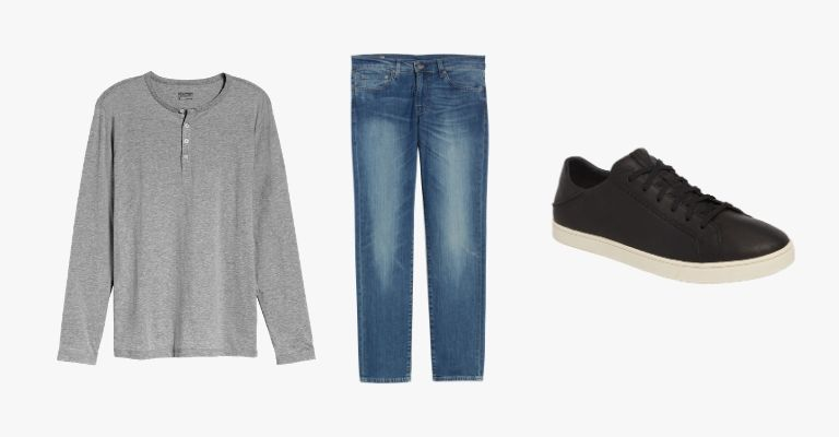 Collection of a grey henley t-shirt, blue jeans, and a black sneaker.
