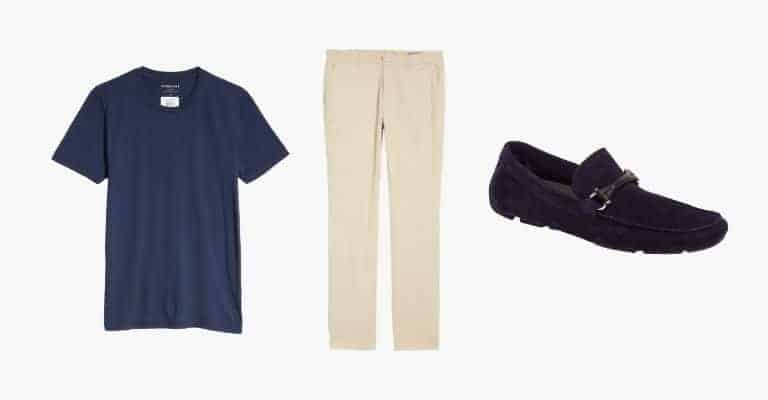 Collection of a navy blue t-shirt, khaki chinos, and navy suede loafers.