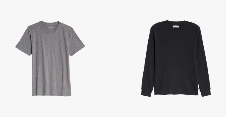A grey short-sleeve t-shirt and a black long-sleeve t-shirt.