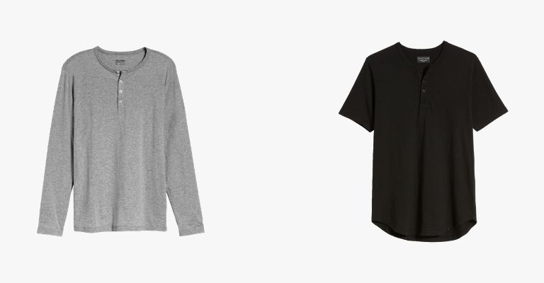 Grey long sleeve henley and black short sleeve henley.