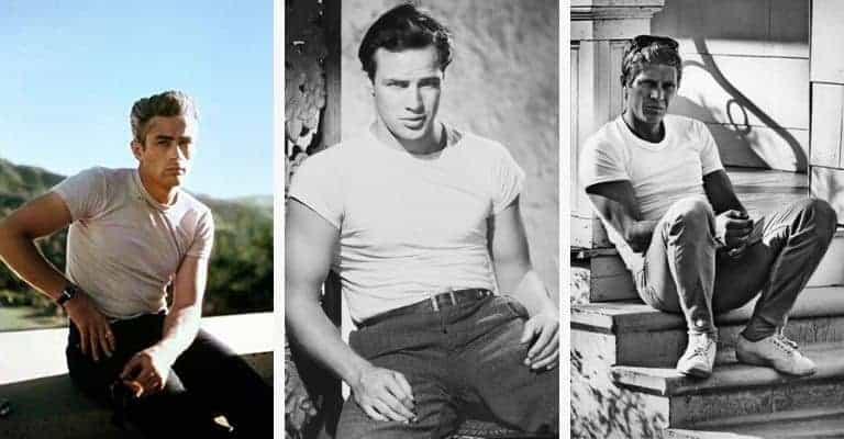A collage of James Dean, Marlon Brando, and Steve McQueen.