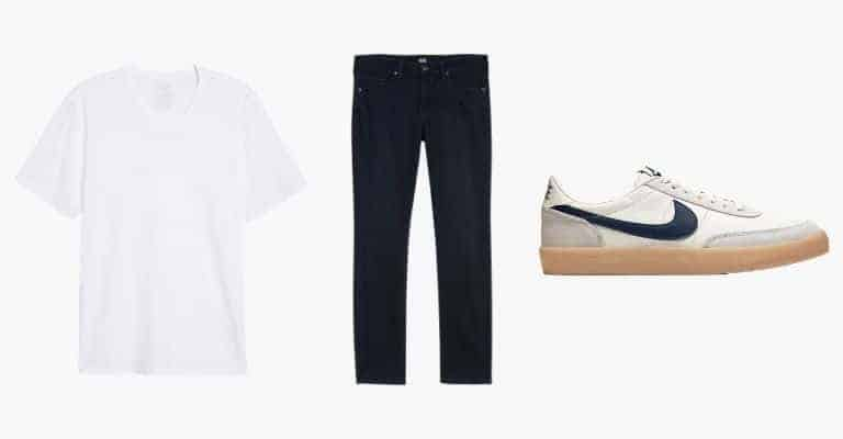 Collection of a white v-neck t-shirt, blue jeans, and a Nike sneaker.