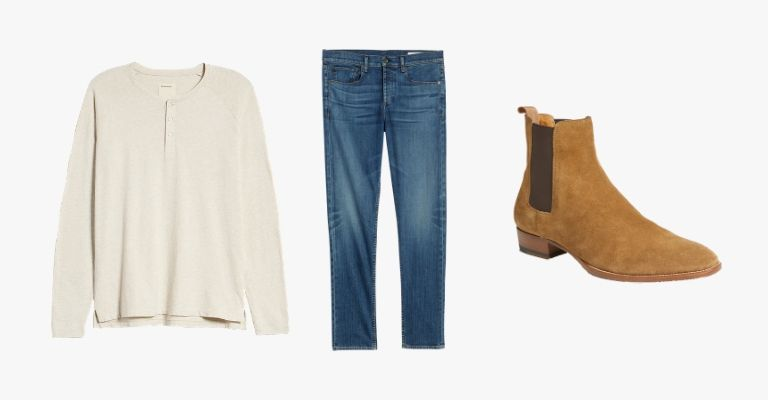 Collection of a beige henley t-shirt, blue jeans, and beige suede Chelsea boots.