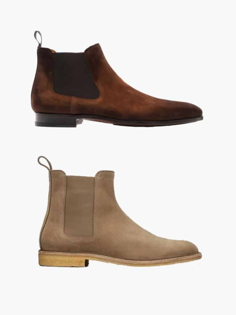 Brown and tan suede Chelsea boots.