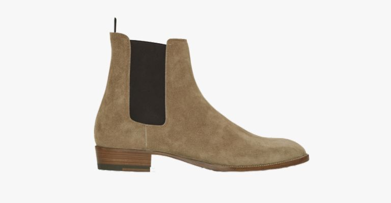 Tan suede Chelsea boots.