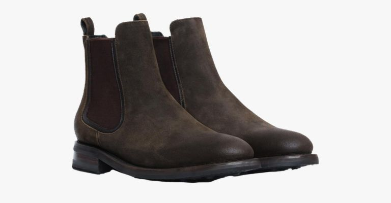 Dark Olive suede Chelsea boots.