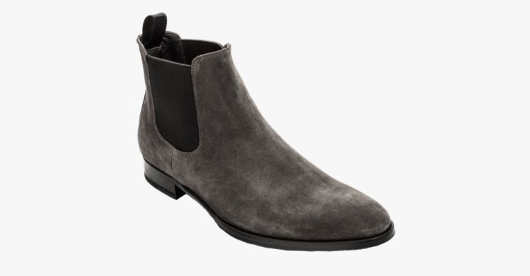 Grey suede Chelsea boots.