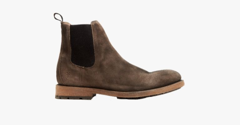 Dark brown and faded Chelsea boots.