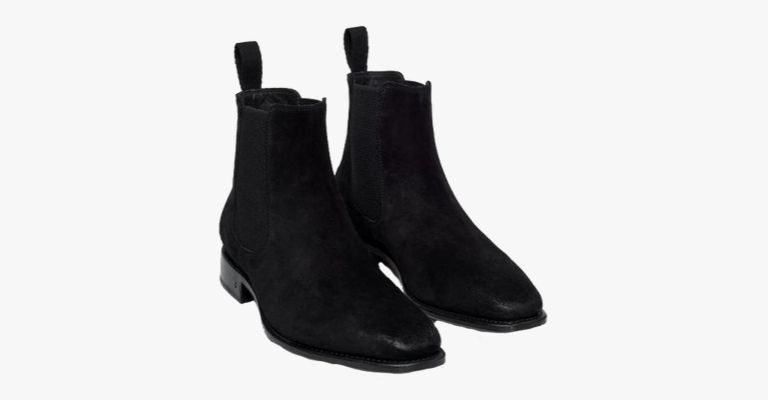 Black suede Chelsea boots.