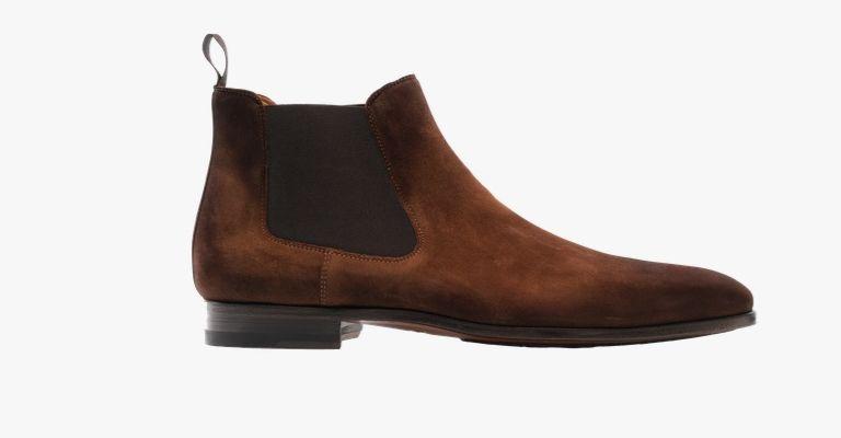 Cognac suede Chelsea boots.