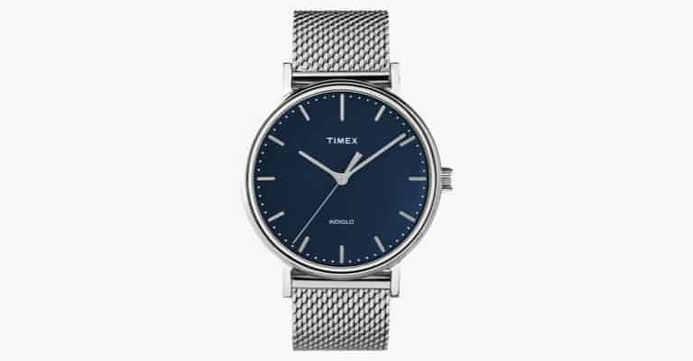 Silver watch with blue face and silver mesh strap.