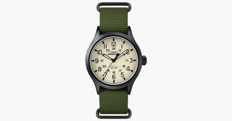A black watch with a green strap.