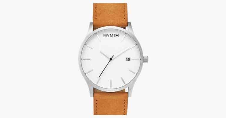 A silver watch with a tan leather strap.