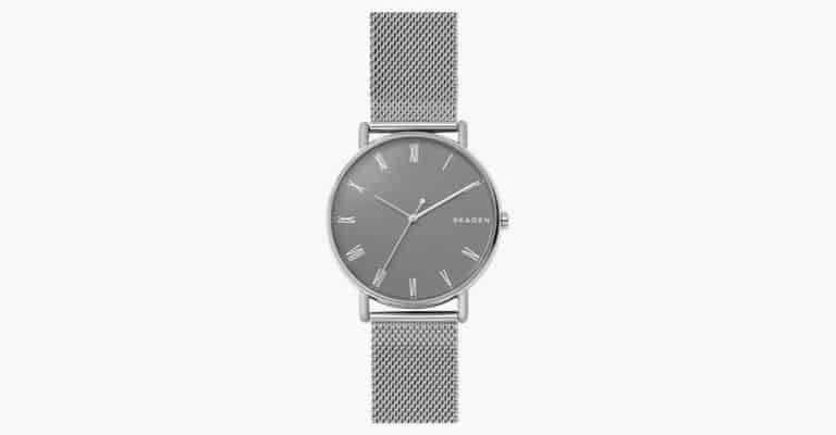 A silver watch with a silver mesh strap.