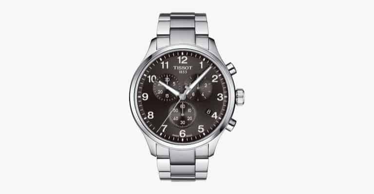 A silver metal watch.