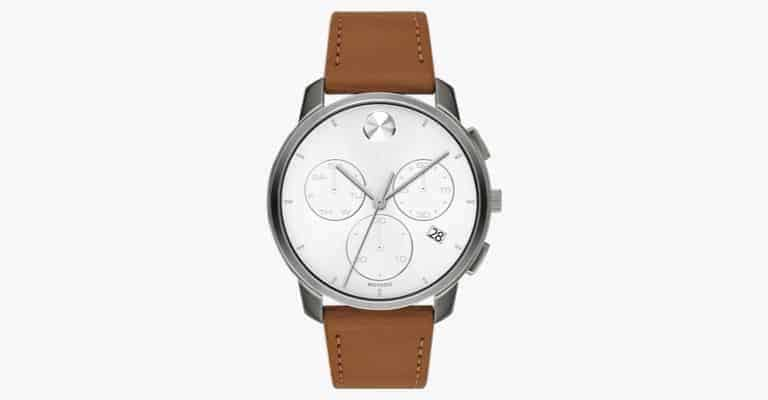 Watch with a brown leather strap.