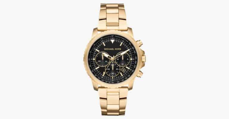 Gold metal watch.
