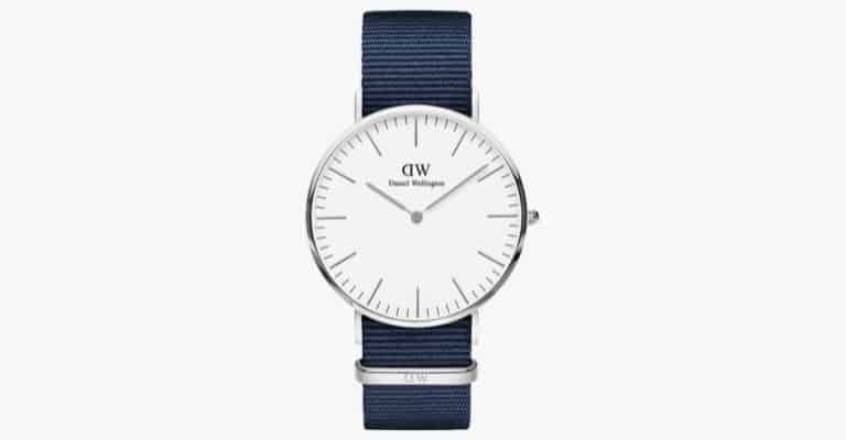 A watch with a navy blue nylon strap.