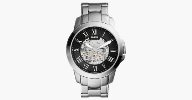 A silver metal watch.