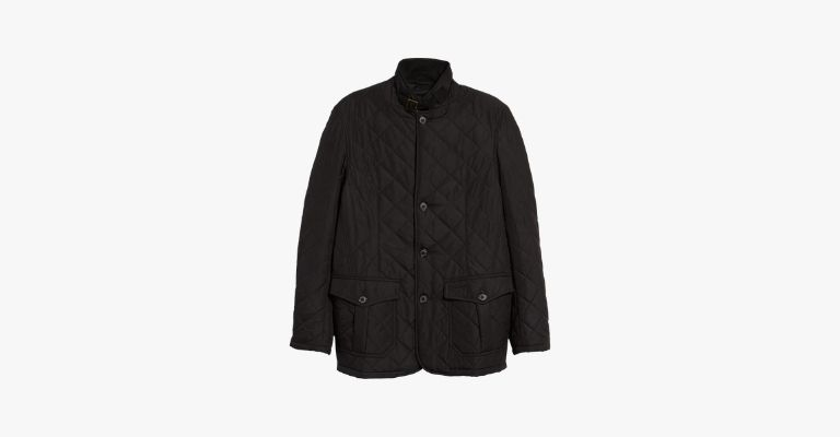 Black quilted jacket.