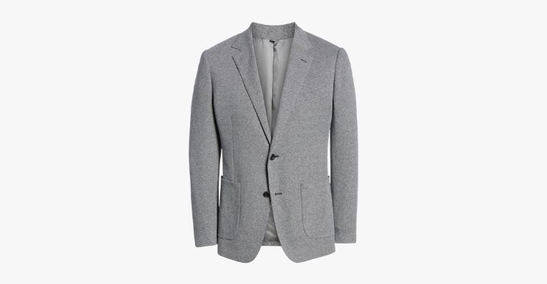 Grey sport coat.