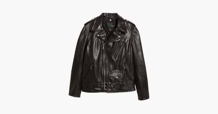 Black leather biker jacket.